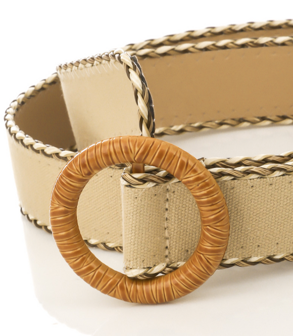 Circle Buckle Braided Elastic Belt