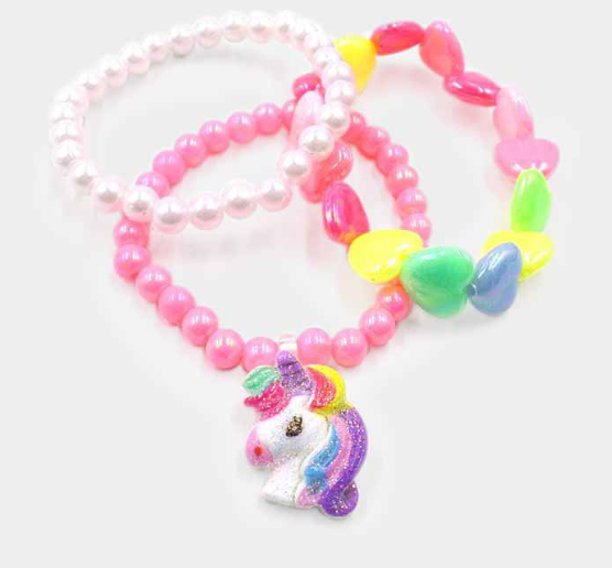 Colorful Heart Bead Unicorn Charm Kids Stretch Bracelets