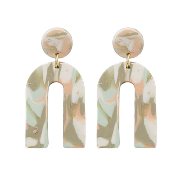 Watercolor Clay Arch Earrings