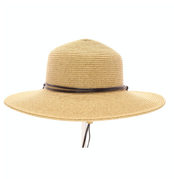 Straw Hat with Leather Band & Leather Strap (for chin)
