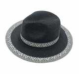 Straw Panama Hat Featuring NAVY Design on Band and Border