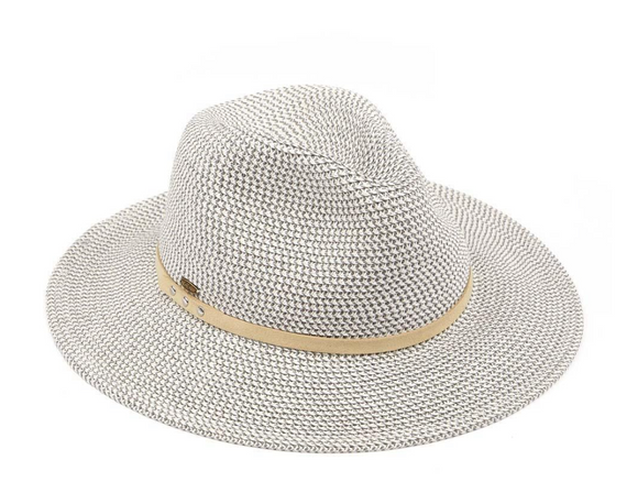 Heather Straw Panama Hat (with faux suede band)