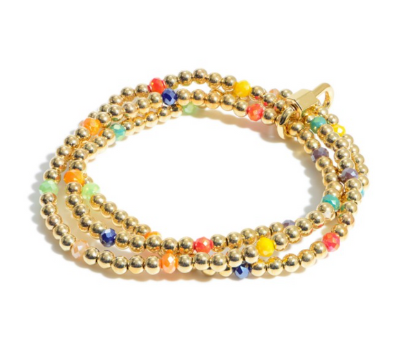 3 PC Beaded Carabiner Stretch Bracelet Set