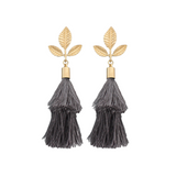 Leaf & Capped Tassel Earrings
