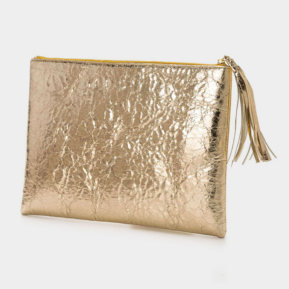 Metallic Tassel Clutch Bag