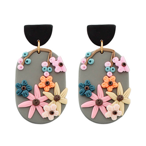 Clay Floral Oval Earrings