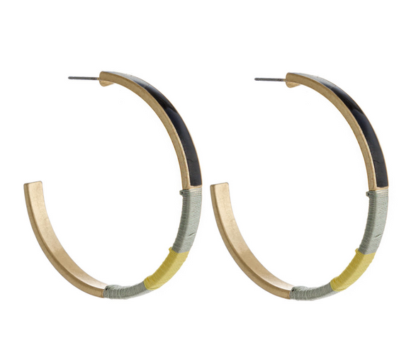 Enamel Coated Thread Wrapped Hoops