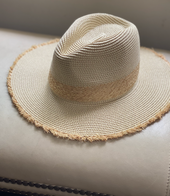 Ivory Straw Hat with Raffia Trim