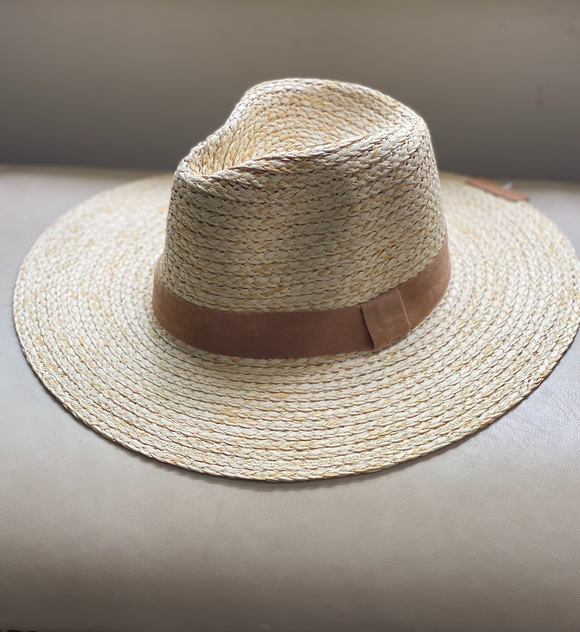 Straw Hat with Suede Band