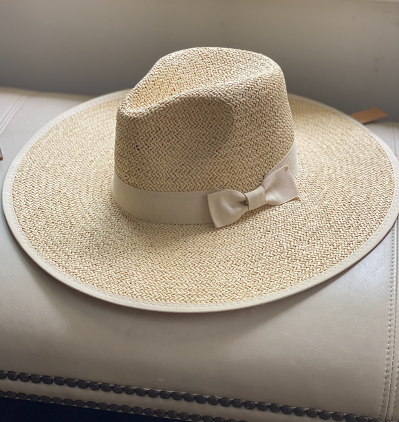 Straw Hat with Bow Trim