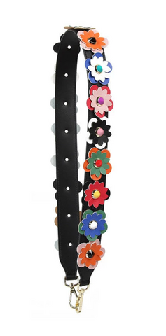 Flower Purse Strap in Multi Black