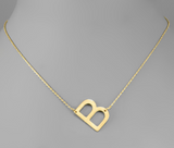 Gold Scratched Initial Necklace