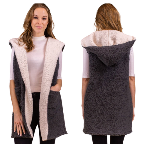 FAUX SHEARLING VEST WITH HOOD