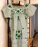 Patterned Dress Green + White Thread