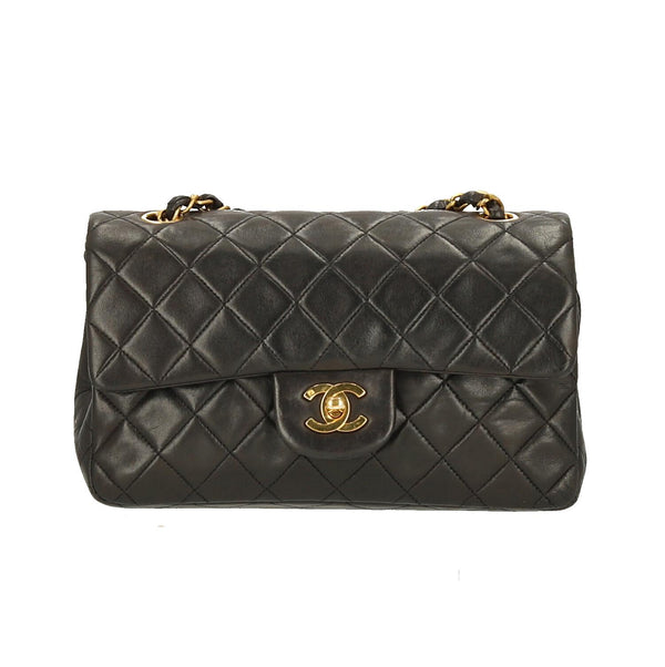 Chanel Black Quilted Lambskin Leather Small Double Flap GHW Shoulder Bag