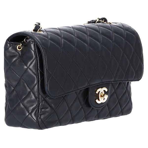 Chanel Black Lambskin Leather Single Flap Shoulder Bag