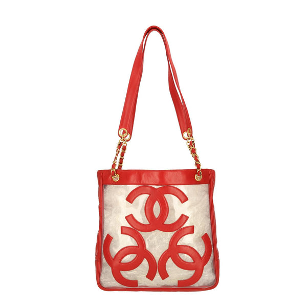 Chanel Red Transparent Triple CC Logo Vinyl Shoulder Bag
