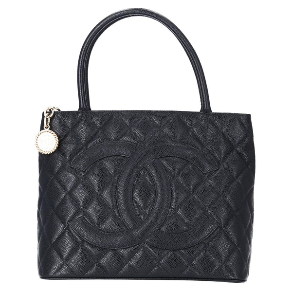 Chanel Black Caviar Leather Medallion Shoulder Bag GHW