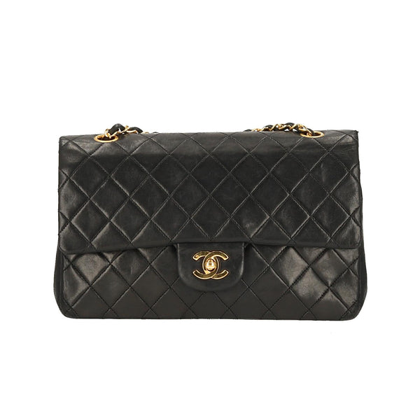 Chanel Black Quilted Lambskin Leather Medium Double Flap GHW Shoulder Bag