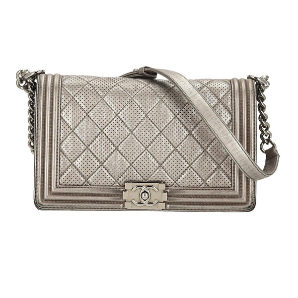 Chanel Silver Lambskin Leather Perforated New Medium SHW Boy Flap Bag