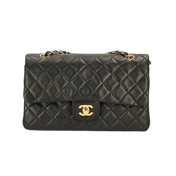 Chanel Black Lambskin Leather Medium Classic Double Flap GHW Shoulder Bag
