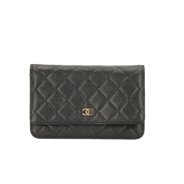 Chanel Black Caviar Leather Wallet on Chain GHW Shoulder Bag