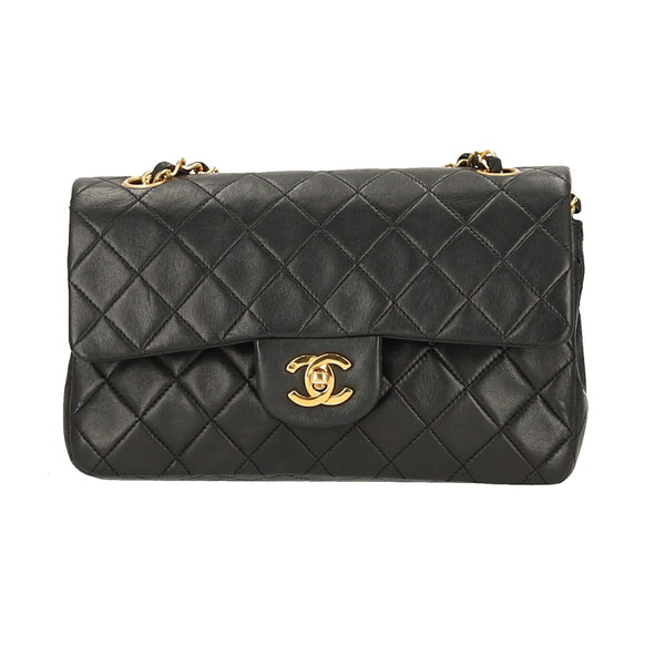 Chanel Black Lambskin Leather Small Classic Double Flap GHW Shoulder Bag