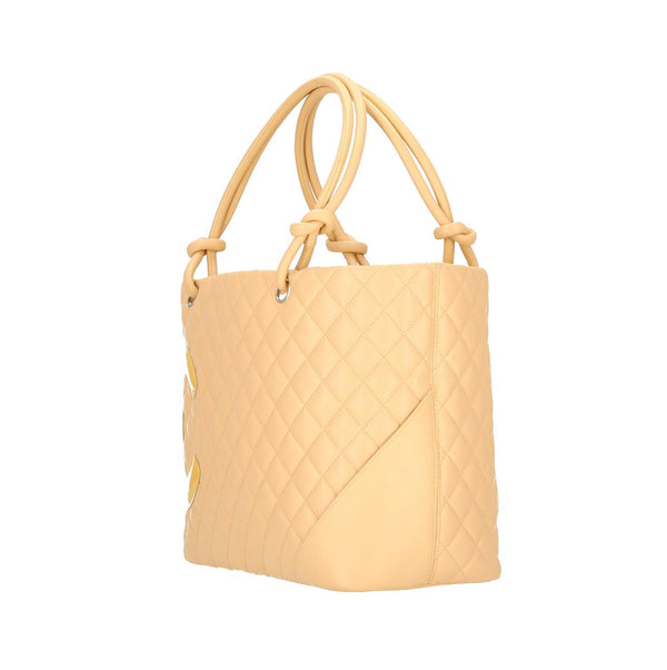 Chanel Light Beige Calfskin Leather Cambon Ligne Shoulder Bag