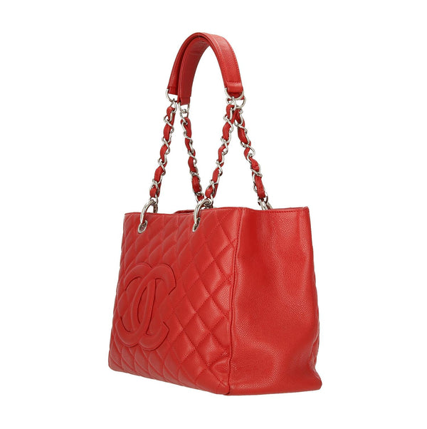 Chanel Red Caviar Leather Grand Shopping Shoulder Bag