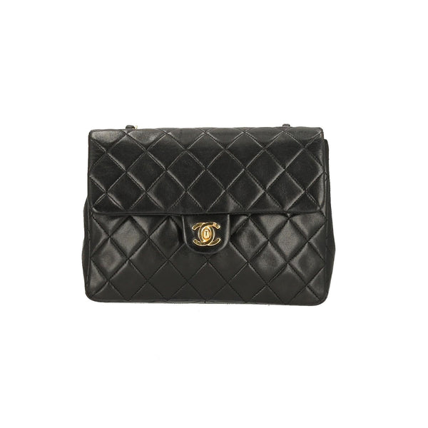 Chanel Black Lambskin Classic New Mini Single Flap GHW Shoulder Bag
