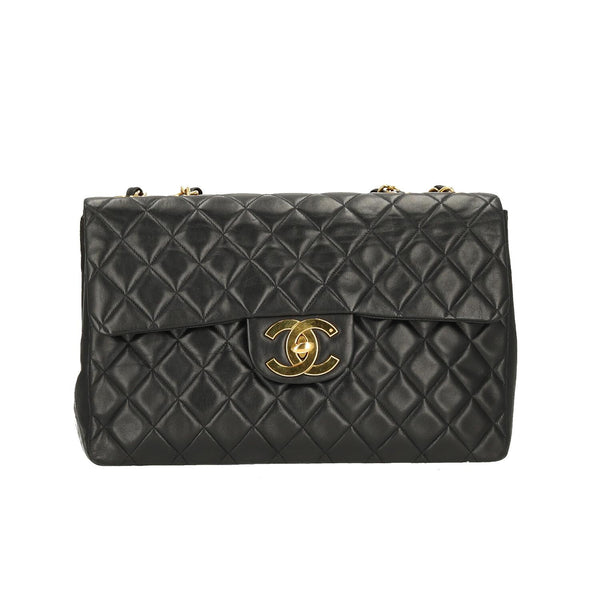 Chanel Black Lambskin Leather Classic Maxi Single Flap GHW Shoulder Bag