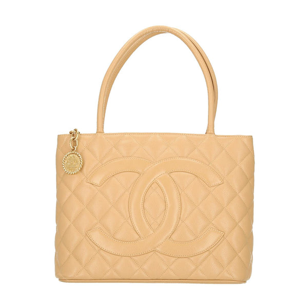 Chanel Beige Caviar Leather Medallion GHW Shoulder Bag