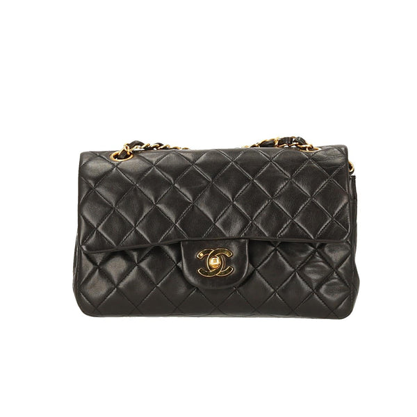 df9ab36a616c ... Chanel Black Lambskin Leather Small Classic Double Flap GHW Shoulder Bag.  On sale