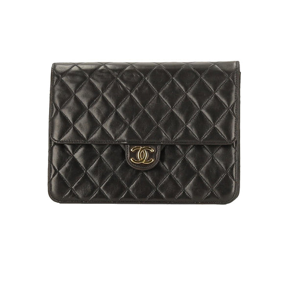 Chanel Black Lambskin Leather Single Flap GHW Shoulder Bag