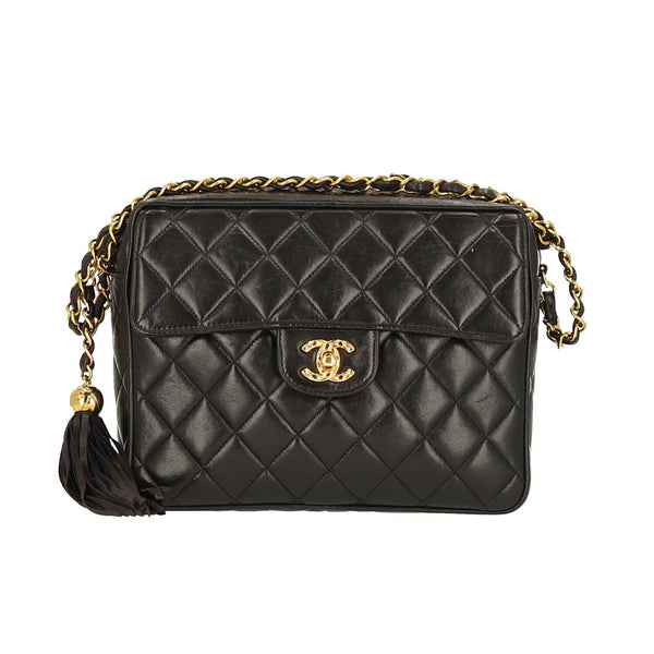 Chanel Black Lambskin Leather Quilted Tassel GHW Shoulder Bag