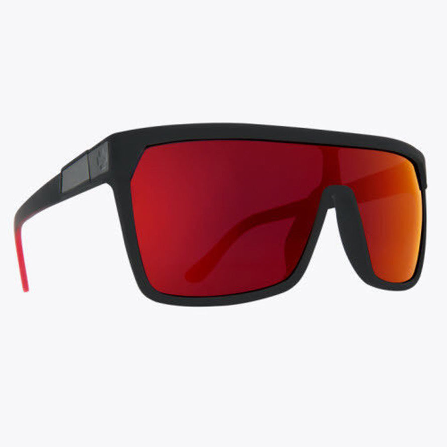 4a9f76bdcc SPY FLYNN SUNGLASSES SOFT MATTE BLACK HAPPY GREY GREEN WITH RED FLASH