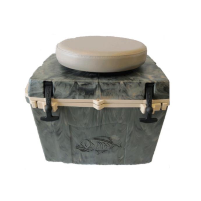 27 QT WOODLAND CAMO COOLER W/ SWIVEL SEAT