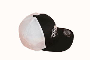 BLACK FITTED TRUCKER HAT