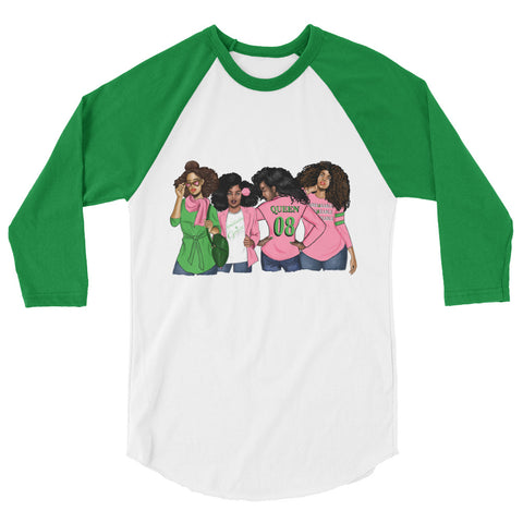 Sorority Sisters AKA 3/4 sleeve raglan shirt