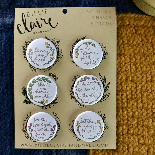 Floral Profanity - Pack of 6 Pin-back Buttons