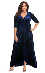 KIYONNA - Cara Velvet Wrap Dress - Designer Dress Hire