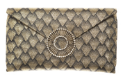 WILBUR AND GUSSIE - Edith Clutch - Gold - Designer Dress hire