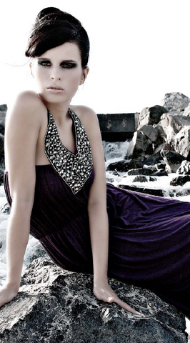 HOUSE OF RENA - Purple Necklace Maxi - Designer Dress hire