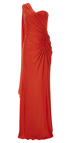 Papaya Draped Gown