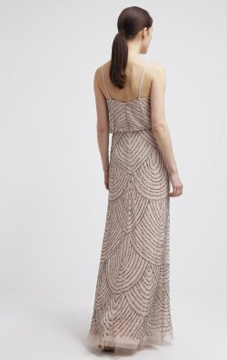 ADRIANNA PAPELL - Art Deco Nude Gown - Designer Dress hire