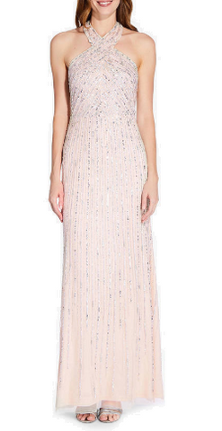ADRIANNA PAPELL - Halter Beaded Nude Gown - Designer Dress hire