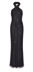 ADRIANNA PAPELL - Halter Beaded Black Gown - Designer Dress Hire