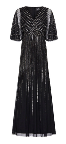 ADRIANNA PAPELL - Sequin V-Neck Black Dress - Designer Dress hire
