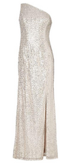 ADRIANNA PAPELL - Silver Sequin Mermaid Gown - Designer Dress Hire