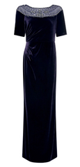 ADRIANNA PAPELL - Velvet Beaded Midnight Gown - Designer Dress Hire